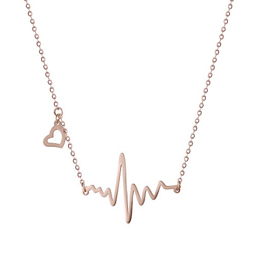 Xuping Jewelry Stainless Steel Electrocardiogram Heartbeat Lifeline Pendant Necklace Cyber Monday Gifts