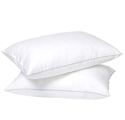 NEKOCAT Bed Pillows for Sleeping 2 Pack 20'x 26' 1000g/Pack Cooling Soft 100% Cotton Cover Adjustable Down Alternative Standard Size Hypoallergenic Pillows for Side, Stomach and and Back Sleepers