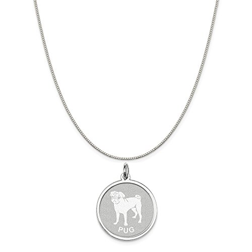 Mireval Sterling Silver Pug Disc Charm on a Sterling Silver Box Chain Necklace, 20