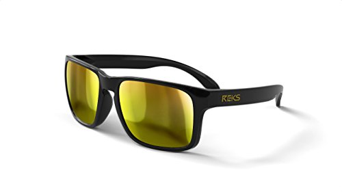 REKS Unbreakable SPORT Sunglasses, Anti-Reflective Lens (Satin Touch Black, Gold Mirror)