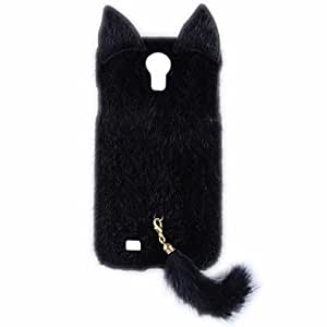 GOG- Fashion Plush Mink Style Protective PC Case with Tail for Samsung Galaxy S4 (Assorted Colors) , Black
