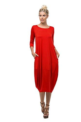 D6123 Ladies Round Neck Bubble Hem Long Dress W/ Pocket Red S