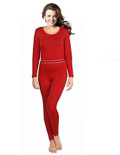Rocky Women's 2 pc Ultra Soft Thermal Underwear, Top & Bottom Fleece Lined Long Johns, Red, X-Large -