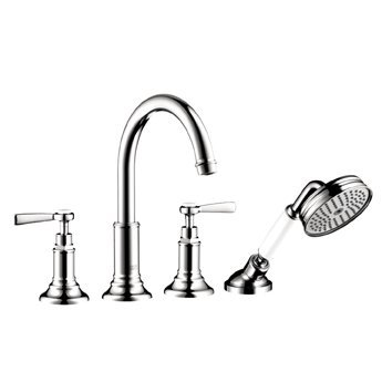 (Hansgrohe 16550001 Chrome Axor Montreux Axor Montreux Roman Tub Filler Faucet Deck Mounted with Diverter, Metal Lever Handles and Single Function Hand Shower Less Valve 16550 )