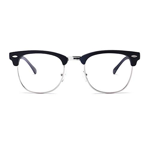 Half Rim Glasses - Unisex Blue Light Blocking Glasses Square/Half Frame Eyeglasses Frame Anti Blue Ray for Computer Game Eyewear