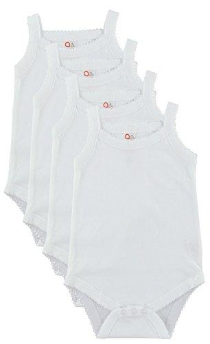 (Baby and Toddler Girls White Camisole Onesie Bodysuit - W2GSNR - Size 0-3 - 4PK)