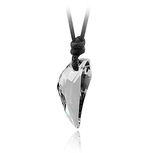Austrian Crystal Wolf Tooth Pendant Necklace,Couple Wishing Stone Leather Rope Necklace for Women Men Personal Gifts (Black)