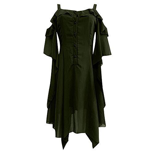 Women's Dress Sexy Off Shoulder Ruffle Hem Fashion Vintage Gothic Steampunk Corset Bustier Prom Skirt Green