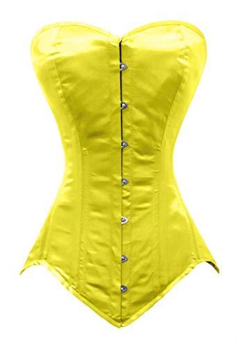 Luvsecretlingerie 26 Double Steel Bone Waist Training Satin Long Overbust Corset, Yellow, XL/30 (For waist 34