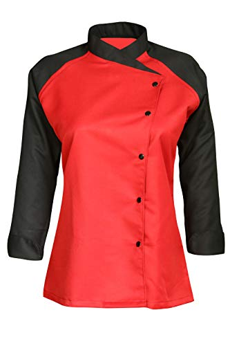 3/4 Contrast Sleeves Women's Ladies Chef's Coat Jackets By Chef Apparels (Red, S (To Fit Bust 34-35))