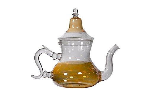 Casablanca Market Moroccan Glass Teapot, Orange