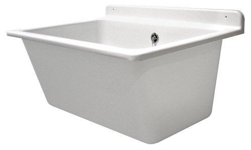 Sanit, lavabo con troppopieno, Kit di montaggio incluso, lavabo in plastica con capacità di 35l, Bianco, art. n. 60.003.01.0099 lavabo in plastica con capacità di 35l 60.003.01..0099