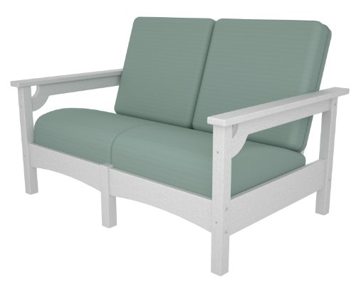 (POLYWOOD PWCLC47WH-5413 Club Settee, White/Spa)