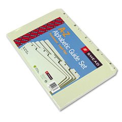 * Recycled Top Tab File Guides, Alpha, 1/5 Tab, Pressboard, Legal, 25/Se