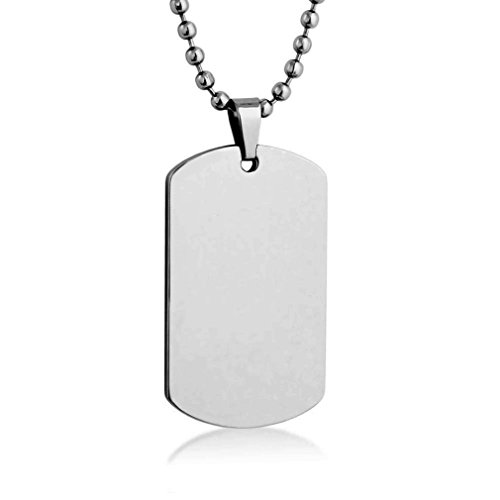 Personalized Custom Message Engraved SMALL Size High polished Stainless Steel Dog Tag Necklace Pendant with with 24 inch Stainless Steel Chain with velvet Giftpouch and Keyring (White) (Pendant Sports Tag Necklace)