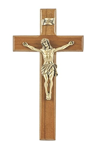 Cherry Wood Cross Crucifix with Gold Toned Pewter Christ Corpus, 8 Inch