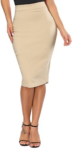Calvin & Sally Elastic Waist Pencil Skirt, Womens Slim Fit Bodycon Midi Ponte Pencil Skirts High Waist (Khaki L) by Calvin & Sally
