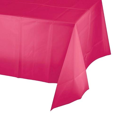 Hot Pink Table Plastic - Mountclear 12-Pack Disposable Plastic Tablecloths 54 x 108 Inch Size Table Cloth Inch Size Table Cloth (HOT Pink)