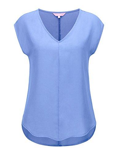 Regna X Women Sky Petal Texture Woven Half Sleeve Blouse Top L