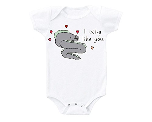 Promini i EELy Like You Sushi EEL Japanese Fish Cute Funny Baby Onesie Gift Novelty Tshirt Costume Babies Bodysuit White]()