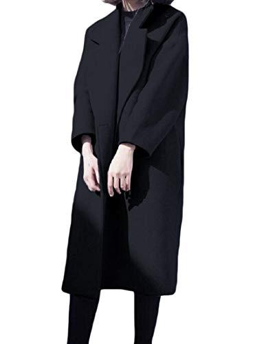 Fall Black Thick Woolen XINHEO Classics Turn Down Womens Coat Winter Collar FPFBxYqpw