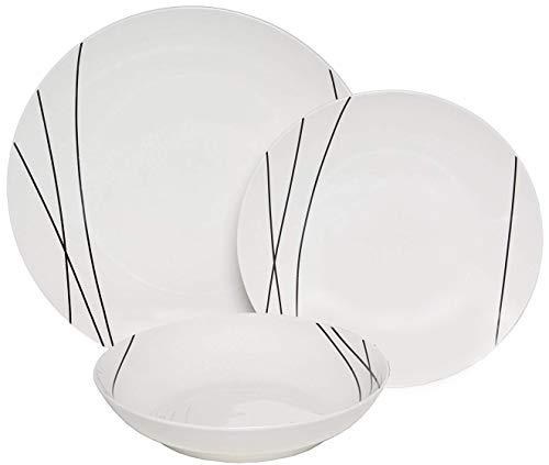 Melange Coupe 36 Piece Porcelain Dinner Set | Black Lines Collection | Service for 12 | Microwave, Dishwasher & Oven Safe | Dinner Plate, Salad Plate, Soup Bowl & Mug (12 Each)