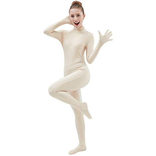 Ensnovo Womens One Piece Unitard Full Body Suit Lycra Spandex Skin Tights Nude,M