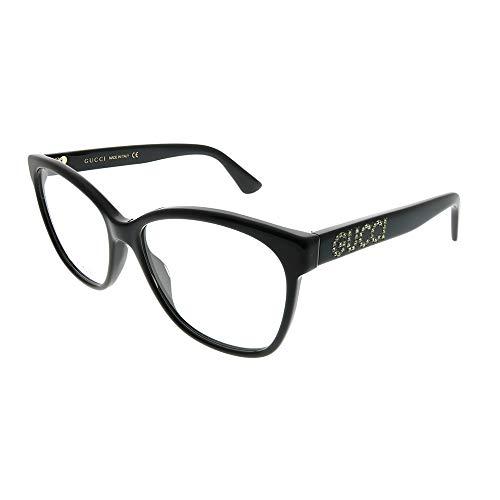 Gucci GG 0421O 001 Black Plastic Square Eyeglasses 55mm (Gucci Glasses Gg F)