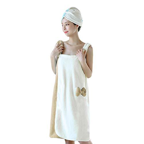 Terry Skirt Wrap - Womens Plush Bathrobe w/Straps Thick for Winter Velvet Ruffle Beach Spa Wrap Shower Bath Body Towel Quick Dry