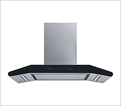 "Winflo New Elite 36"" Convertible Stainless Steel 800 CFM Wall Mount Range Hood with Stainless Steel Sliencer Panel and Aluminum Filters, LED Lights and 5 Speed Touch Control"