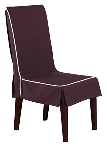 SureFit Monaco - Shorty Dining Room Chair Slipcover  - Chocolate/White (SF45118)