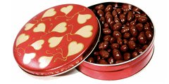 DiabeticFriendly 6 Inch Heart Design Tin Filled with 14 oz Sugar Free Chocolate Covered Pecans