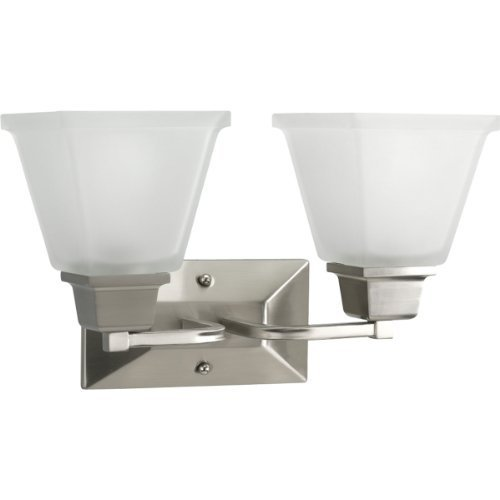 Progress Lighting P2738-09 2-Light Bath Fixture with Square Etched Glass and Can Mount Up or Down, Brushed Nickel by Progress (09 Etched Glass)