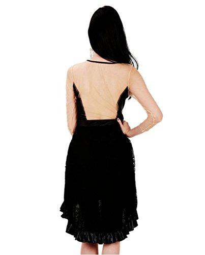 M Las Atractiva Clubwear Malla Mujeres Largas Vestido De mire Cuero Mojado Xgg S Costura Mangas 4qw6pnq