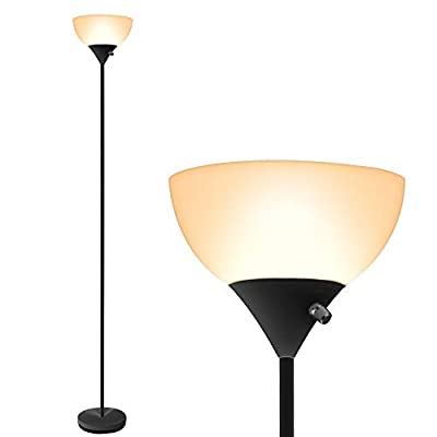 Floor Lamp - LED Floor Lamp, 70inch Modern Standing Lamp, 9W Energy Saving, 40000h Long Lifespan, 3000K Warm White, Eye-Caring, Torchiere Floor Lamps for Bedrooms, Living Room, Office, Reading - 【EASY TO INSTALL & MOVE】 - The installation of this modern floor lamp is super easy, you can install it with no need of additional tools or parts, all you need to do is to screw all the parts of lamp pole together following the instruction. Due to its simple design, this floor lamp light can be carried and moved easily to any other rooms, you can use the floor lamps for living room, bedroom or home office, fulfilling your different needs. 【ENERGY-SAVING & LONG-LASTING】- SUNLLIPE floor lamps are integrated LED lamps. LED bulbs are extremely energy efficient and consume up to 90% less power than incandescent bulbs. Also, money and energy will be saved in maintenance and replacement costs due to the long lifespan of LED bulbs. This LED floor lamp is 9 watts, which can provide 800 lumen, which has a lifespan of up to 40,000 hours. Save the planet that you love so much, everything will make difference upon thousands of little effort. 【STABLE & SAFE】 - LED bulbs of the floor lamp emit almost no heat, which means that you don't need to worry about safety problems caused by overheat of the standing floor lamp. Besides, with a durable plastic lampshade which has the perfect transmission of light, the LED beads will also be protected from damage. Adopting a stable base and a metal pole, it has a excellent stability which will prevent falling when it's knocked by kids or pets, making it a perfect standing lamp for living room. - living-room-decor, living-room, floor-lamps - 316rJlcE0zL. SS400  -