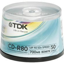 Price comparison product image Tub of 50 TDK CD-R80 700MB 52X by TDK/RITEK (50 pieces of 80 mins recordable cd in re-usable cake tub) (EAN 4902030307936)