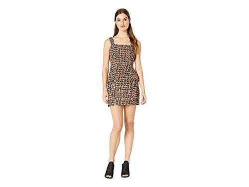 J.O.A. Women's Tweed Mini Dress with Self Buttons Black Tweed Medium ()