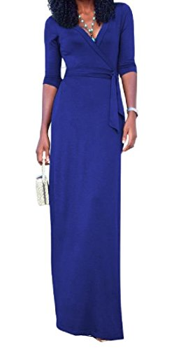 High Sexy Waist Blue V Split Dresses Neck sleeve Work Long Women Coolred wq4tTT
