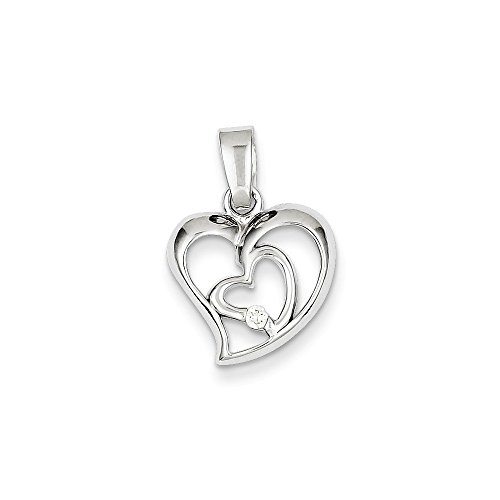 - Sterling Silver Rhodium Plated CZ Open Double Heart Pendant