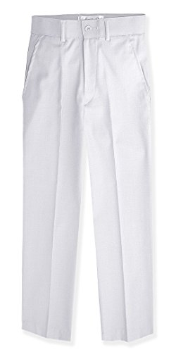 - Johnnie Lene Boys Flat Front Slim Fit Dress Pants #JL36 (8, White)