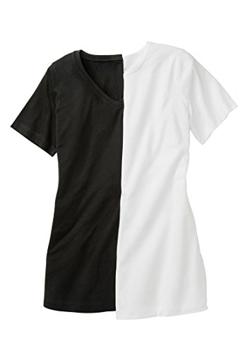 Women's Plus Size Soft Cotton Tee 2-Pack Black White Pack,4X