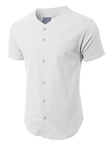 OLLIN1 PREMIUM Mens Heavyweight Short Sleeve Button Up Baseball Jersey Shirt (Heavyweight Two Button Jersey)