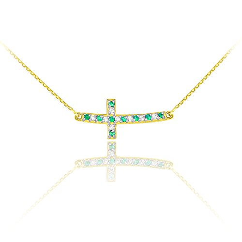 14k Gold Diamond and Emerald Sideways Curved Cross Necklace (22 Inches) -