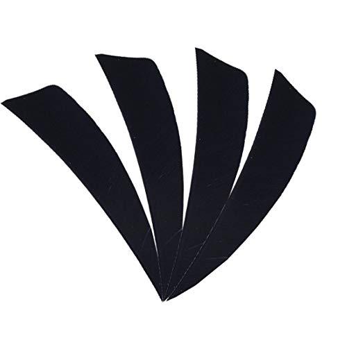 MILAEM 50pcs 4 inch Arrow Feather Fletches Shield Shape Feathers Archery Arrow Fletch Right Wing Fletching (Black) ()