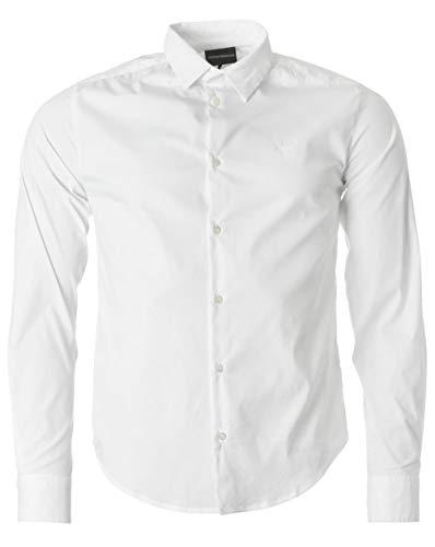 Negro Slim Blanco Emporio Hombres Fit Camisa Armani Stretch w7x8H8zYn
