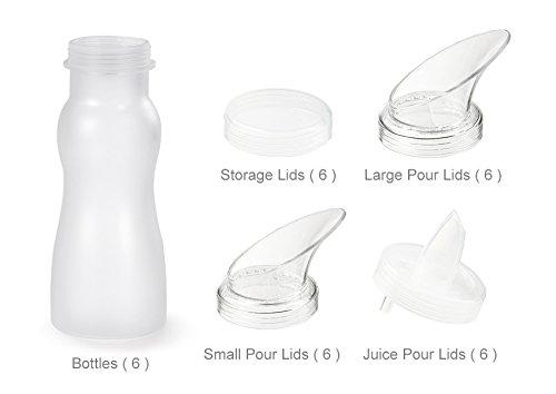G.E.T. Enterprises SDB-16-PC-6 Salad Dressing Bottle & 24 Lid, Break Resistant, 30 Piece (Set of 6), 16 oz, Clear