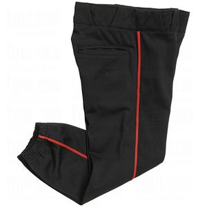 CHAMPRO Women's Sports Performance Pants with Piping, Black/Red Pipe, Medium