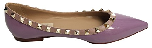 Trim Patent Leather Flats Pointed Studded Toe Kaitlyn nude gold Studs Pan Purple Ballerina qaX8nBvnw