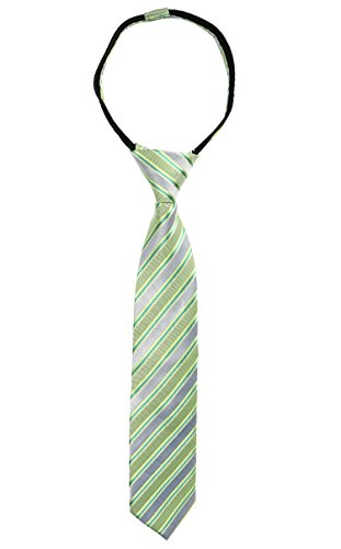 Spring Notion Boys' Pre-tied Woven Zipper Tie X-Large Pastel Green Stripes