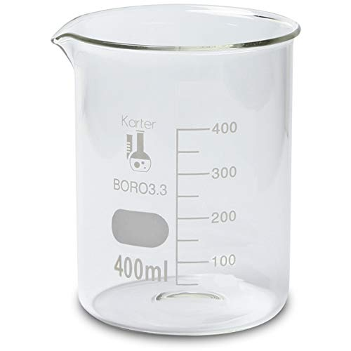 400ml Beaker, Low Form Griffin, Borosilicate 3.3 Glass, with Spout & Printed Graduations, Karter Scientific 232S4